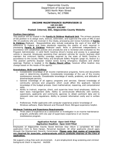 INCOME MAINTENANCE SUPERVISOR II Edgecombe County Department of Social Services