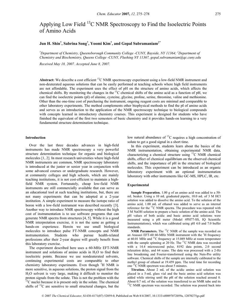 Applying Low Field C NMR Spectroscopy to Find the