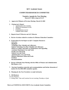 QCC Academic Senate COMPUTER RESOURCES COMMITTEE  Tentative Agenda for Next Meeting