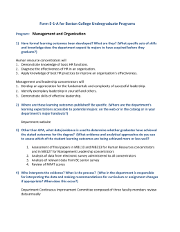 Form E-1-A for Boston College Undergraduate Programs  : Management and Organization