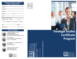 Paralegal Studies Certificate Program Registration