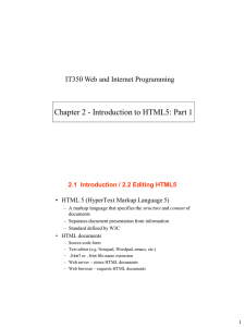 Chapter 2 - Introduction to HTML5: Part 1