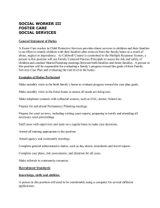 SOCIAL WORKER III FOSTER CARE SOCIAL SERVICES