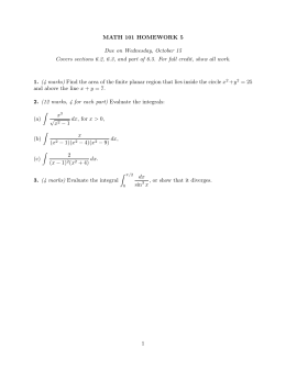MATH 101 HOMEWORK 5 Due on Wednesday, October 15