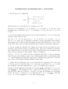 MATHEMATICS 120 PROBLEM SET 3 - SOLUTIONS 1. The function f − ax