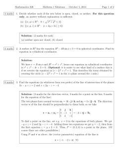 Mathematics 226 Midterm 1 Solutions — October 3, 2014 1.