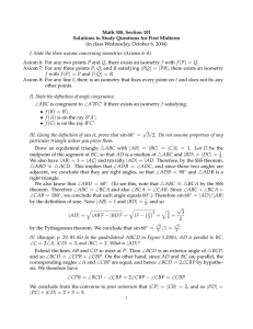 Math 308, Section 101 Solutions to Study Questions for First Midterm