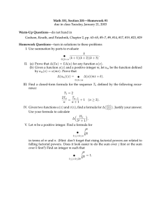 Math 331, Section 201—Homework #1 Warm-Up Questions —do not hand in