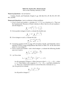 Math 331, Section 201—Homework #2 Warm-Up Questions —do not hand in