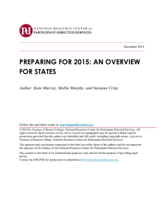 PREPARING FOR 2015: AN OVERVIEW FOR STATES