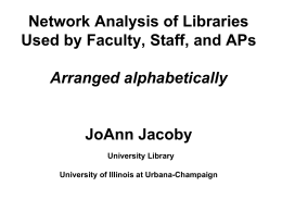 Network Analysis of Libraries Used by Faculty, Staff, and APs JoAnn Jacoby