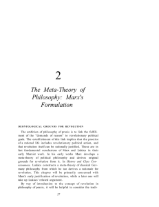 2 The Meta-Theory of Philosophy: Marx's Formulation