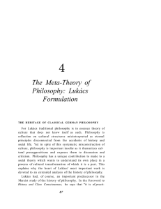 4 The Meta-Theory of Philosophy: Lukács Formulation