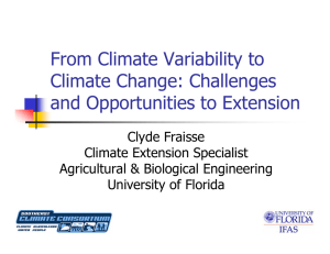 From Climate Variability to Climate Change: Challenges and Opportunities to Extension