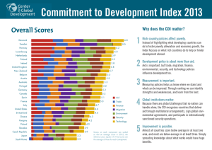 Commitment to Development Index 2013 1 Overall Scores Why does the CDI matter?