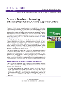 REPORT BRIEF Science Teachers' Learning IN