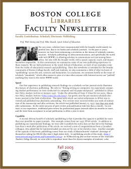 Faculty Newsletter Libraries Faculty Contribution: Scholarly Electronic Publishing