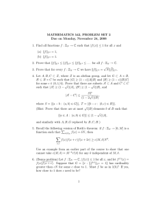 MATHEMATICS 542, PROBLEM SET 2 Due on Monday, November 24, 2008