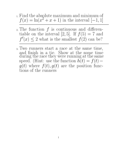 Find the absolute maximum and minimum of f (x) = ln(x