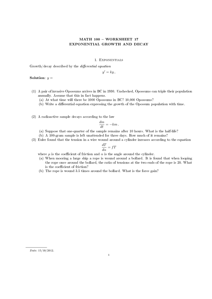Exponential Growth And Decay Worksheet S For Kids. Math 100 Worksheet 17 Exponential Growth And Decay 1 Exponentials. Worksheet. Exponential Growth And Decay Worksheet At Mspartners.co