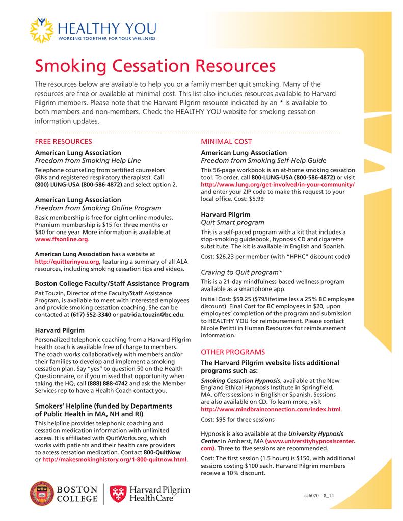smoking cessation resources free resources minimal cost