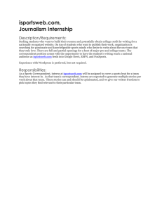 isportsweb.com, Journalism Internship Description/Requirements: