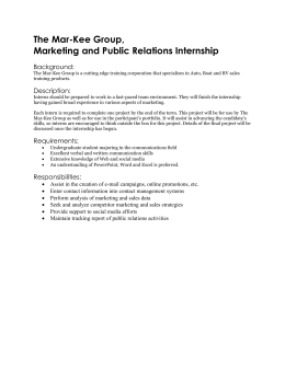 The Mar-Kee Group, Marketing and Public Relations Internship Background: