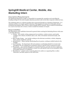 Springhill Medical Center, Mobile, Ala. Marketing Intern Description/Requirements: