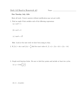 Math 142 Hand-in Homework #2