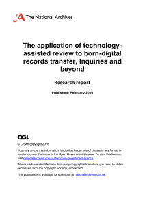 The application of technology- assisted review to born-digital records transfer, Inquiries and beyond
