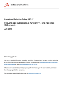 Operational Selection Policy OSP 57 – SITE RECORDS NUCLEAR DECOMMISSIONING AUTHORITY 1940 onwards