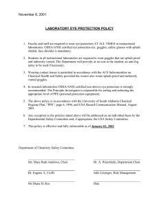 November 8, 2001  LABORATORY EYE PROTECTION POLICY