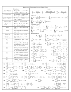 Theoretical Computer Science Cheat Sheet Definitions Series f (n) = O(g(n))
