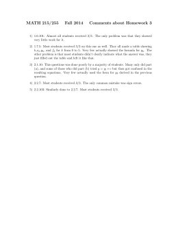 MATH 215/255 Fall 2014 Comments about Homework 3