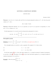 LECTURE 24: EIGENVALUE METHOD October 31, 2014 y(t) and ~