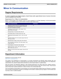 Minor In Communication Degree Requirements