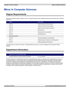 Minor In Computer Sciences Degree Requirements