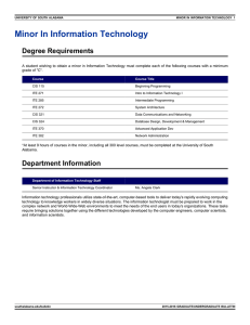 Minor In Information Technology Degree Requirements