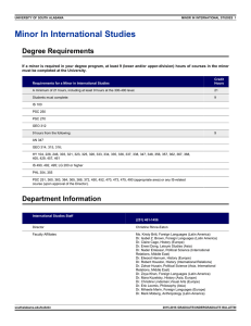 Minor In International Studies Degree Requirements
