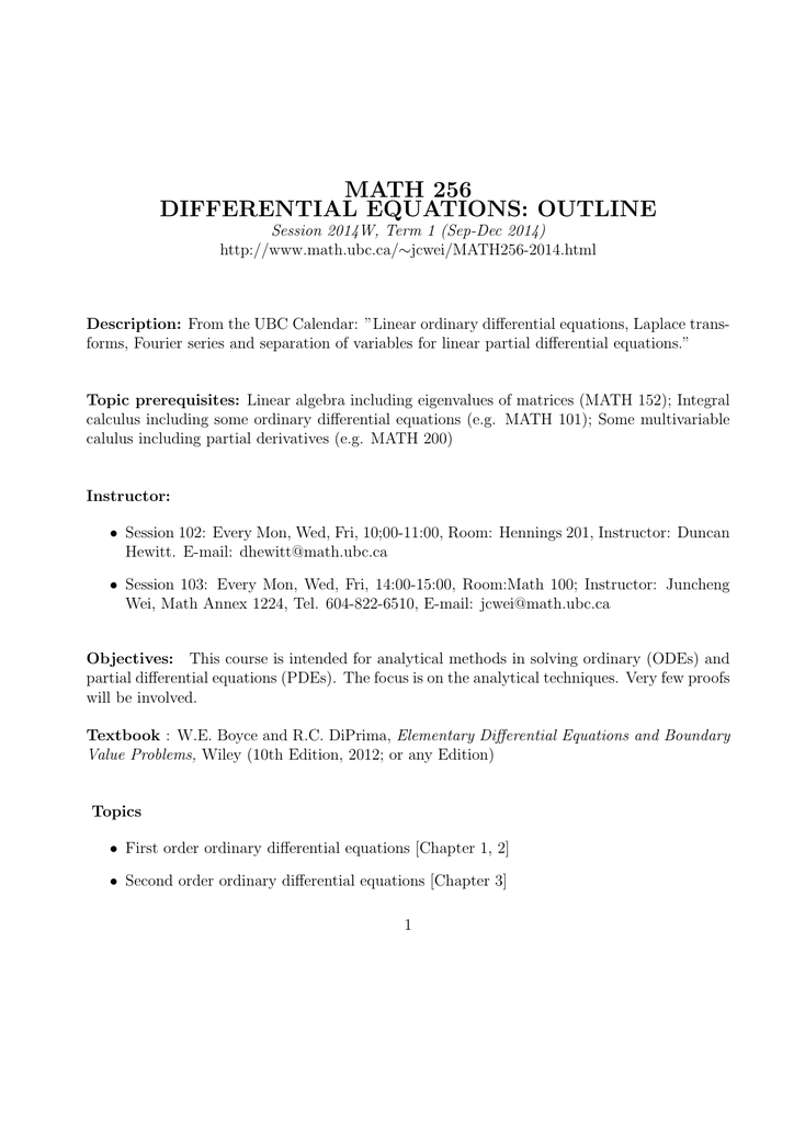 MATH 256 DIFFERENTIAL EQUATIONS: OUTLINE