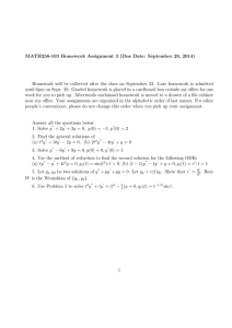 MATH256-103 Homework Assignment 3 (Due Date: September 29, 2014)