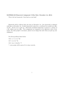 MATH256-103 Homework Assignment 9 (Due Date: December 1st, 2014)