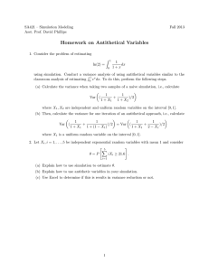 Homework on Antithetical Variables