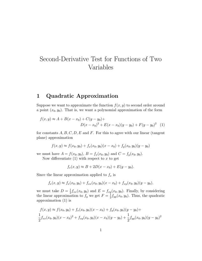 Second Derivative Test For Functions Of Two Variables 1 Quadratic Approximation This equation is in standard form and i covert that to slope intercept form to. studylib