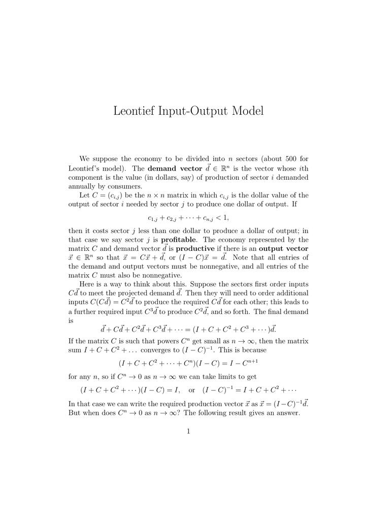leontief input output model