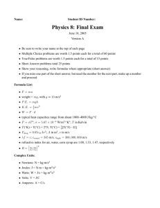 Physics 8: Final Exam