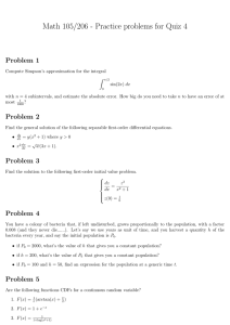 Math 105/206 - Practice problems for Quiz 4 Problem 1