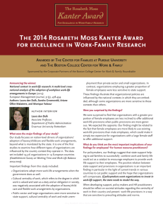 The 2014 Rosabeth Moss Kanter Award for excellence in Work-Family Research A