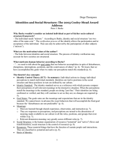 Identities and Social Structure: The 2003 Cooley-Mead Award Address