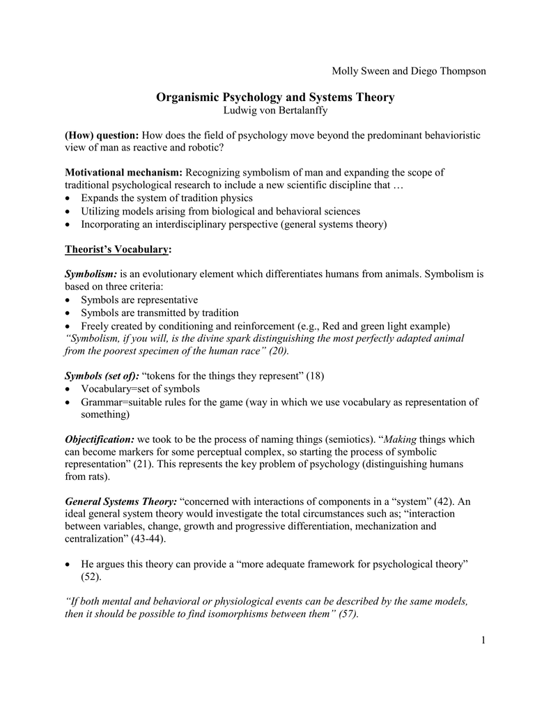 Organismic Psychology And Systems Theory